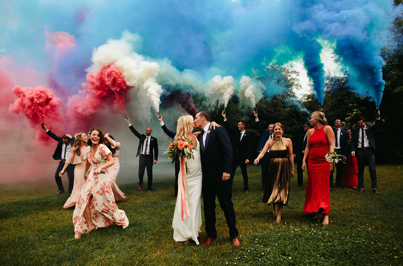A Festive Fourth of July Wedding with Patriotic Smoke Bombs + Colorful Florals
