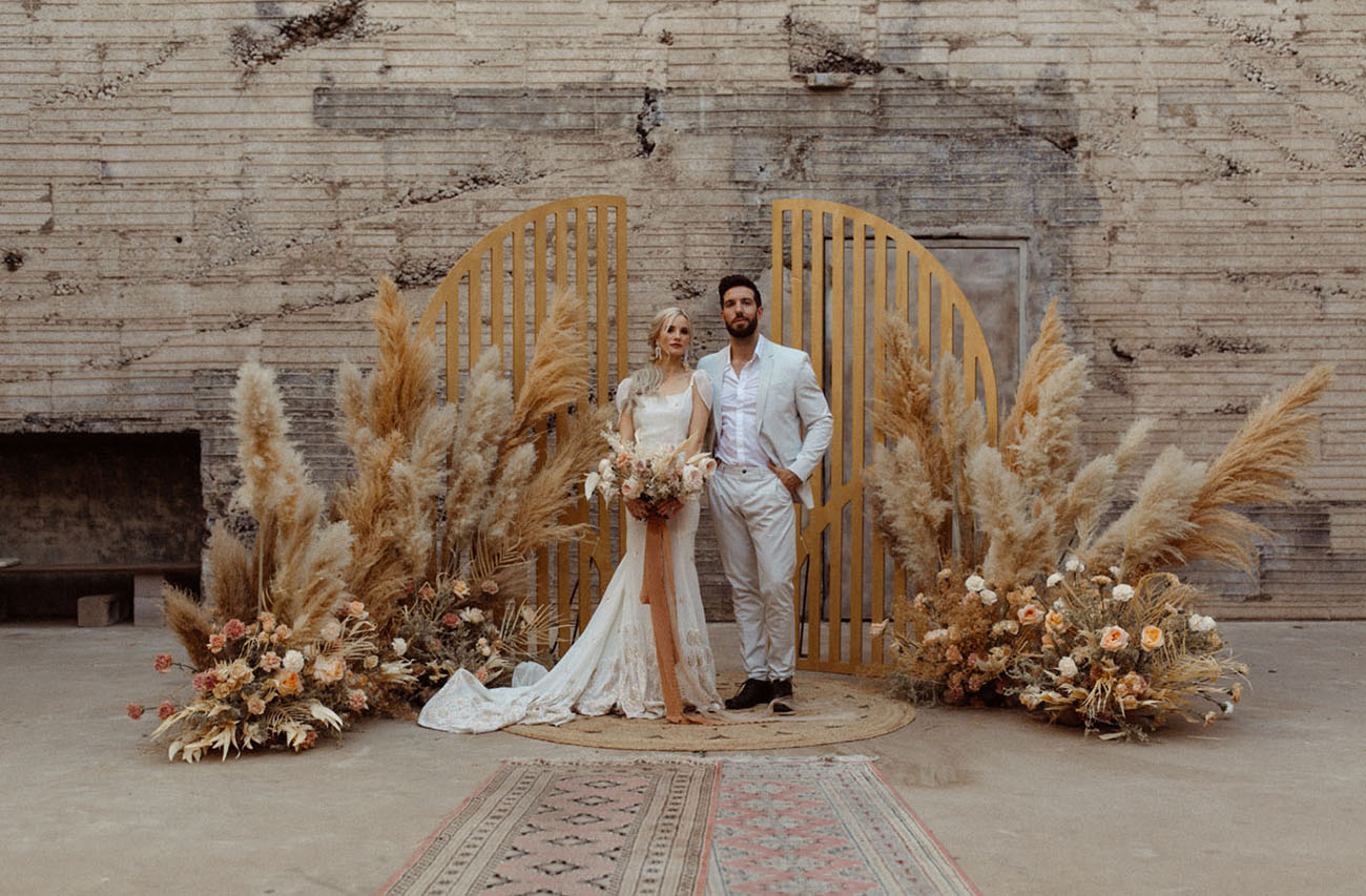 Peach Wedding Inspiration with Sandy Tones + Boho Florals