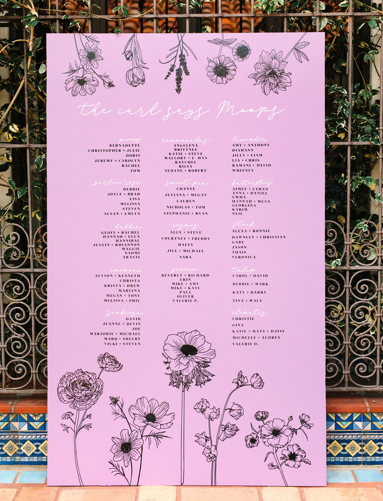 floral seating chart