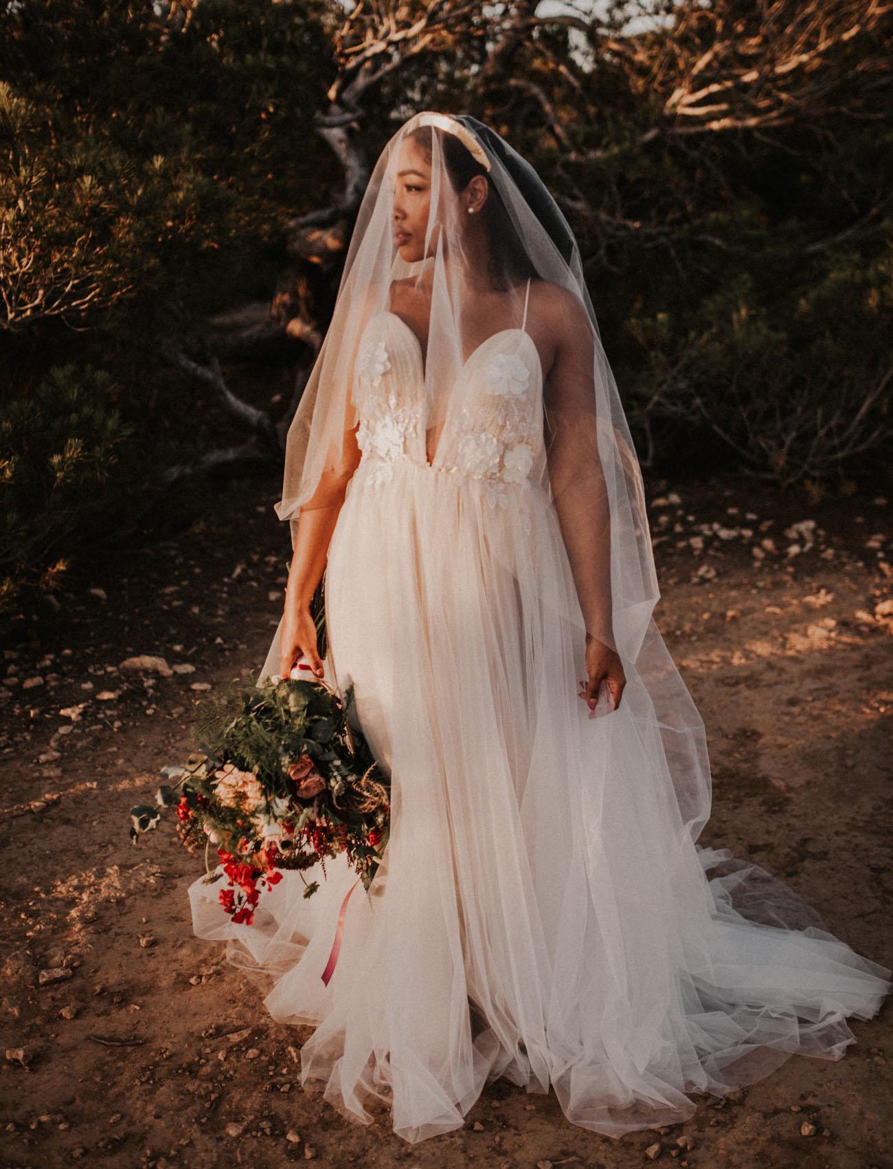 Blue thread bridal dress