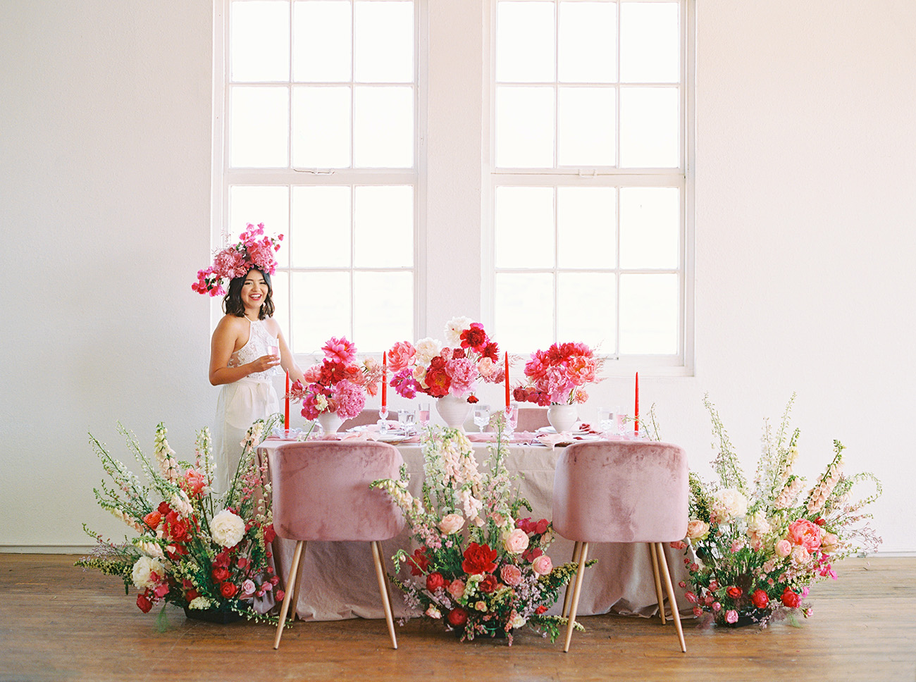 intimate wedding with pink flowers