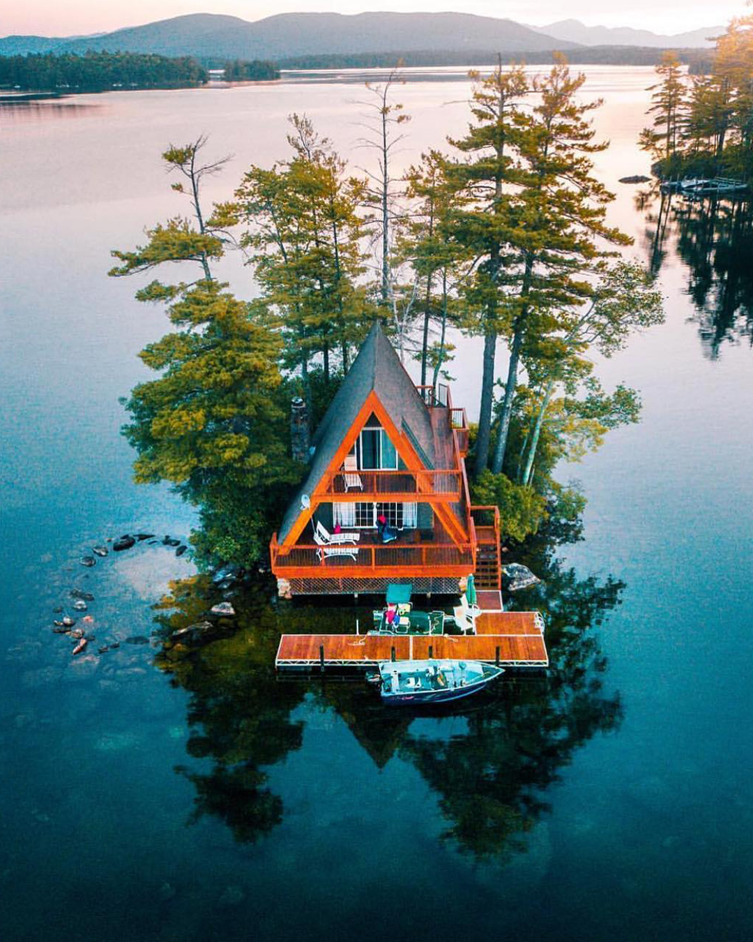 lake house aframe to rent on a private island