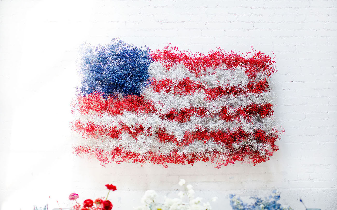 American flag painted flowers