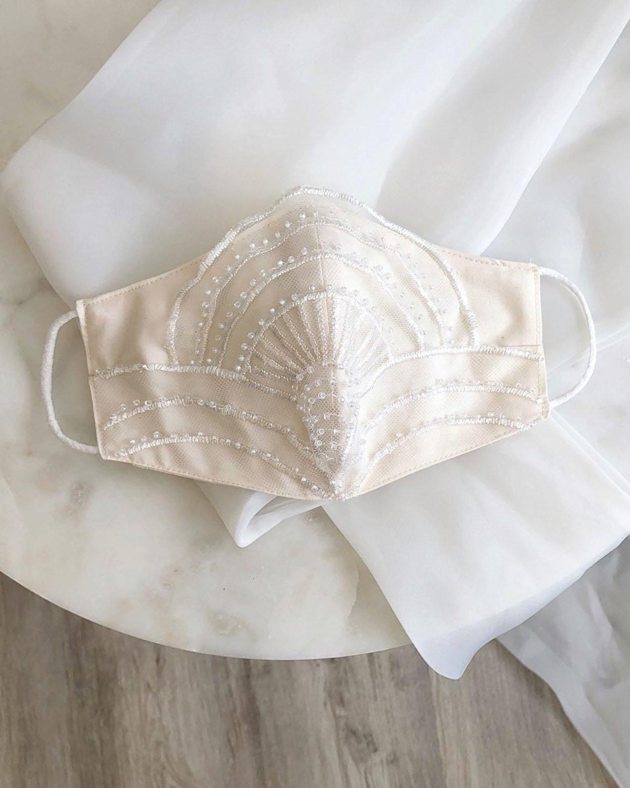 art deco lace bridal face mask