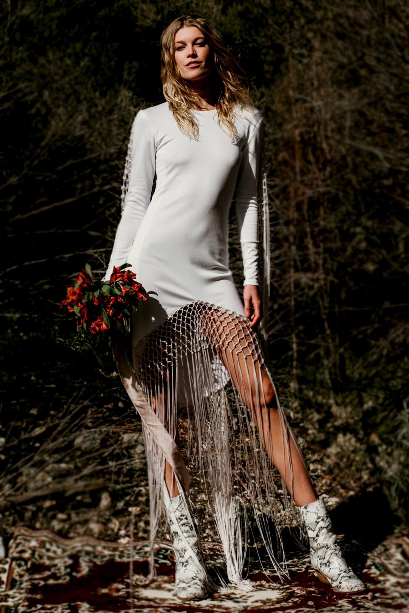 short wedding dress with boho fringe