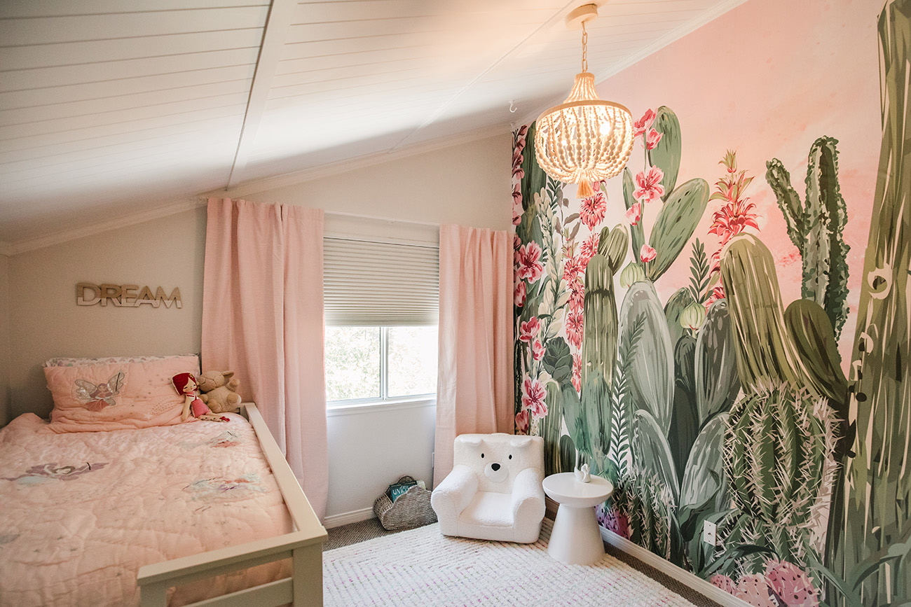 flower cactus wallpaper from minted for a girls bedroom