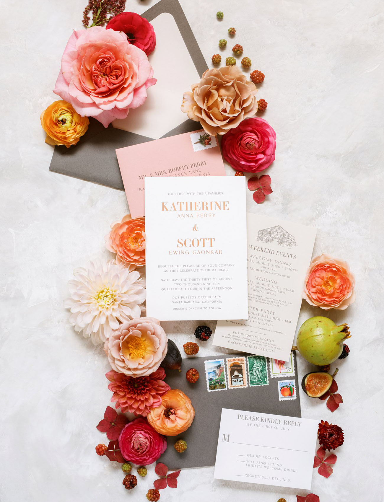 flat lay invitation suite