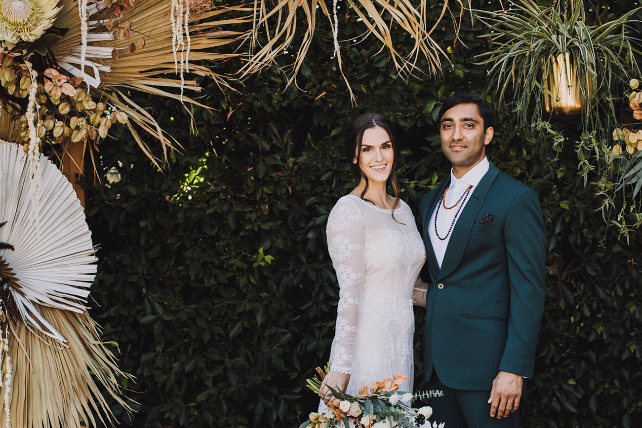 wedding in los angeles with dried palms