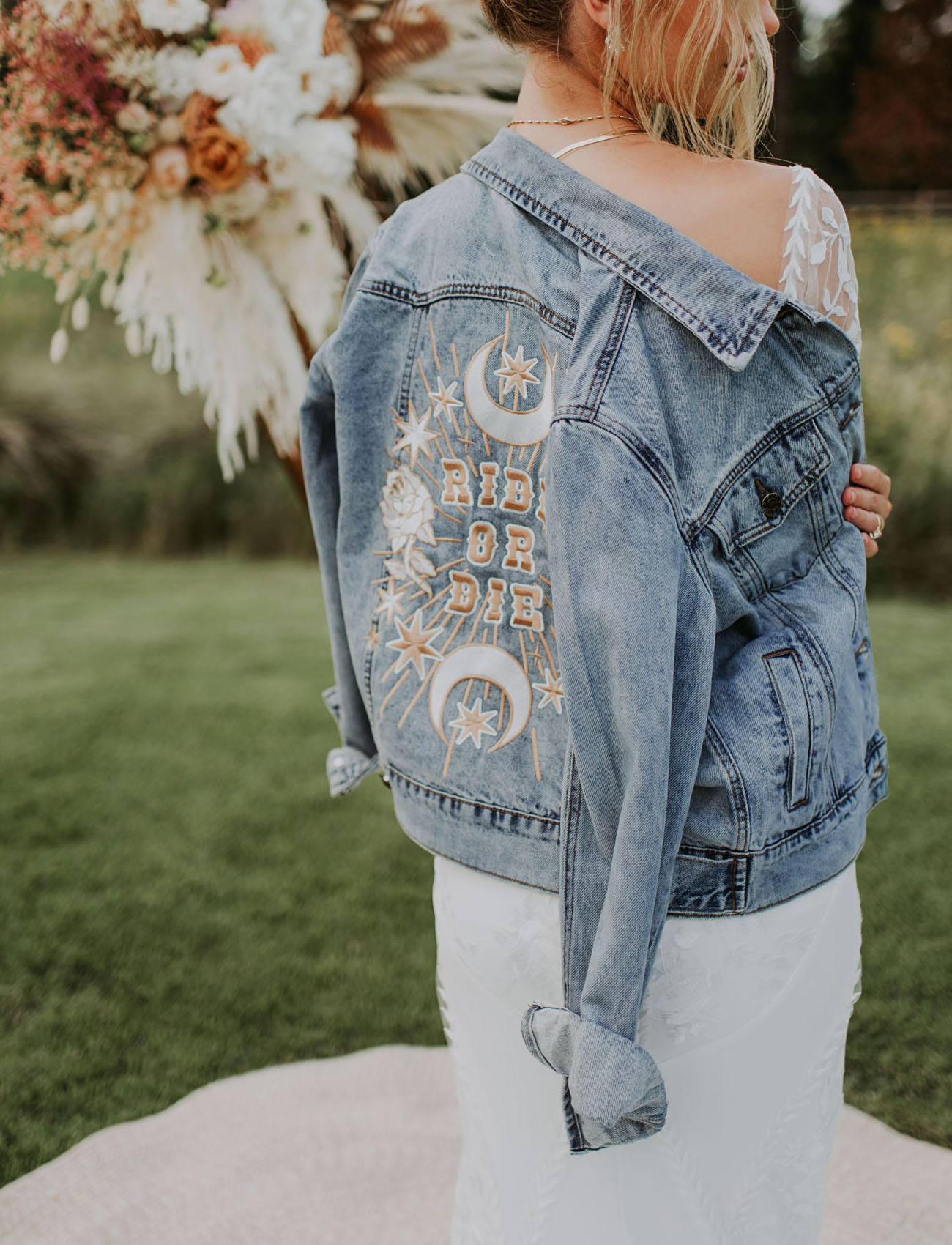 embroidered bridal jean jacket