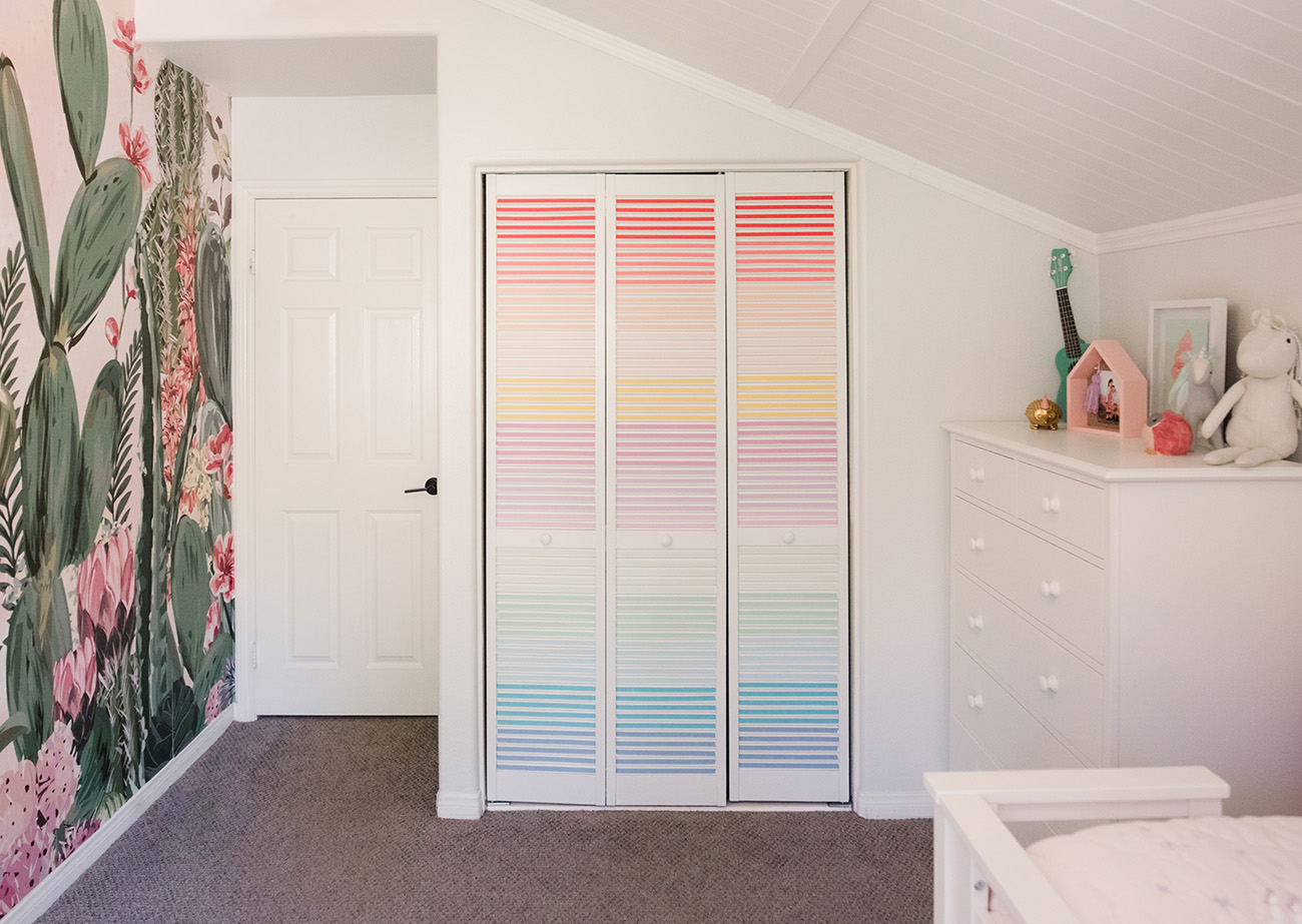 rainbow washi tape ombre closet doors