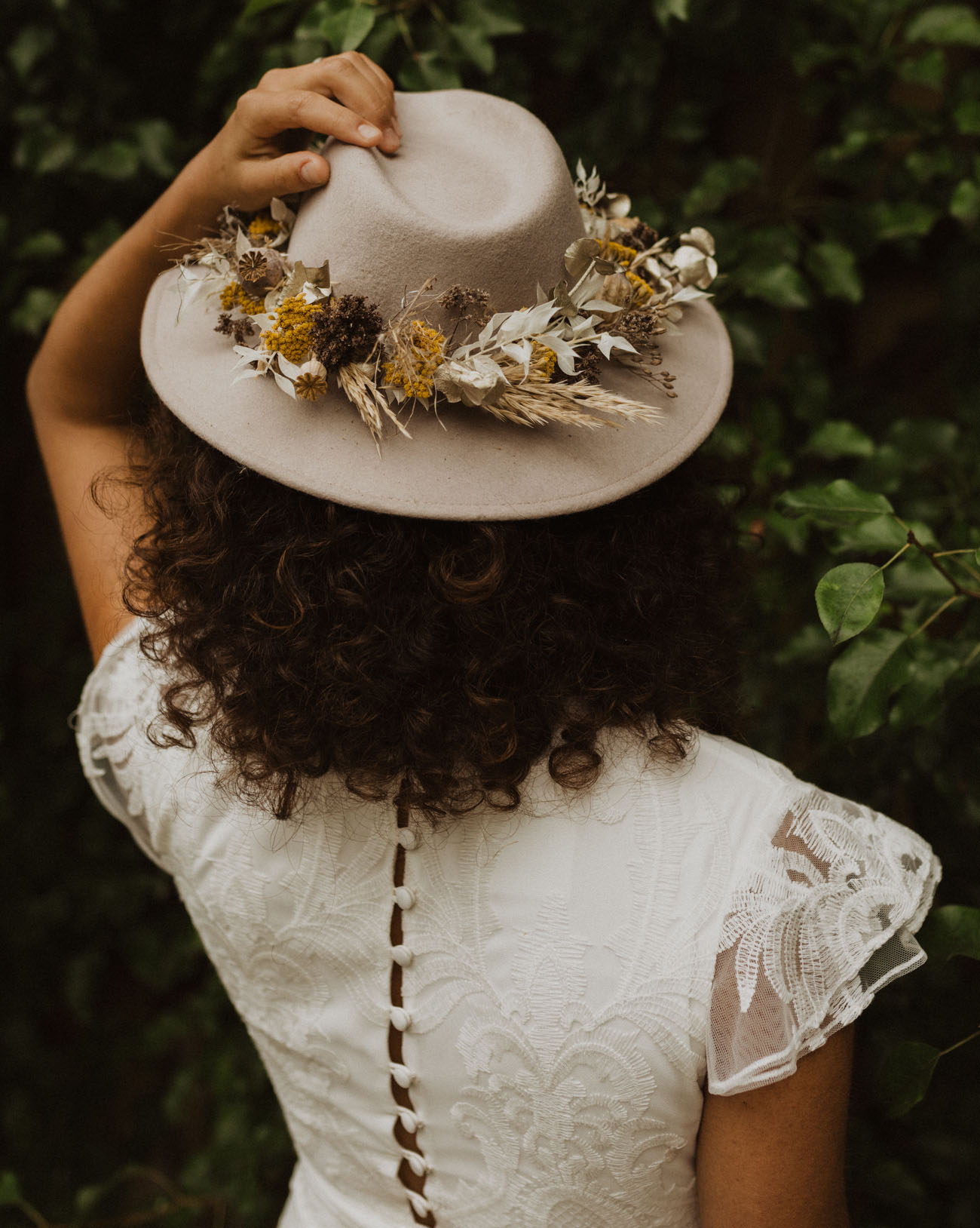 dried floral hat