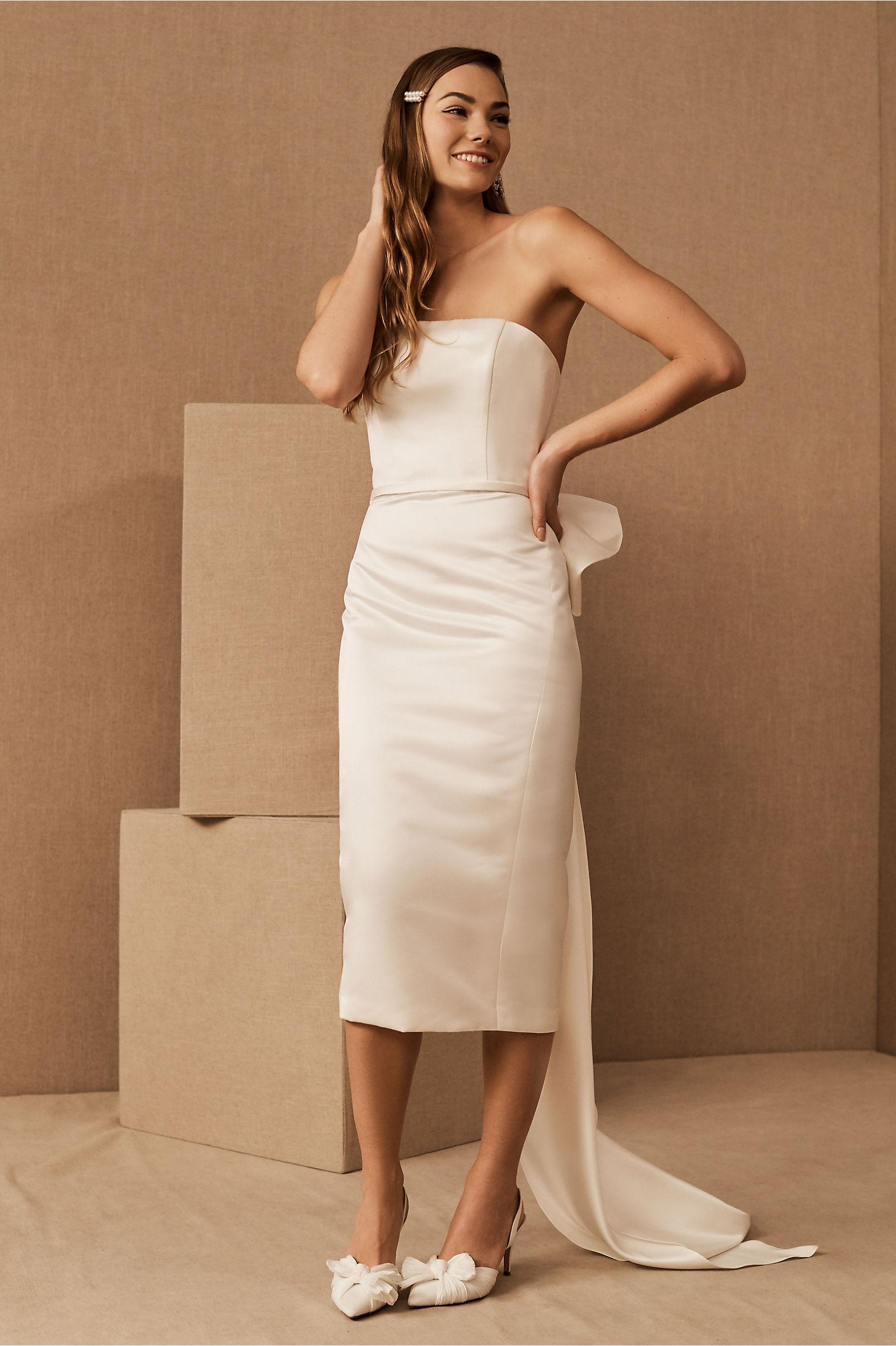 amsale bow wedding dress