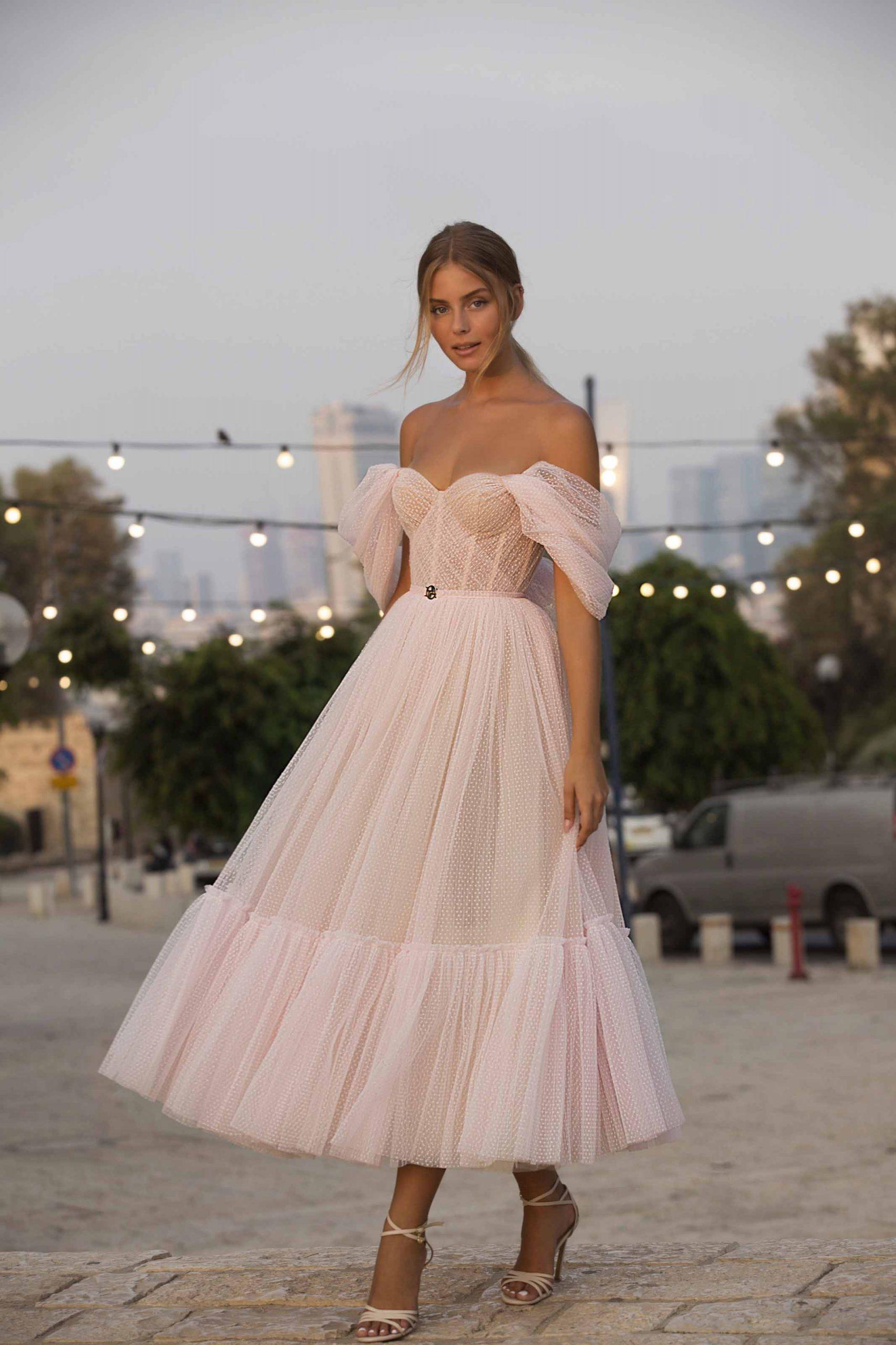 berta pink tulle wedding dress