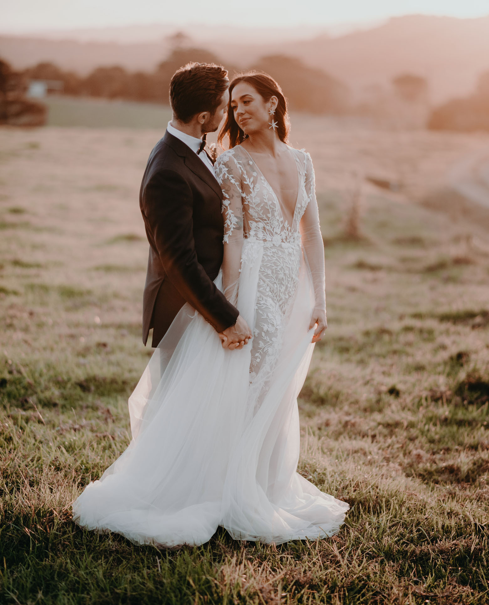Boho-Glam Byron Bay Wedding with Pink Pampas Grass + Orchids
