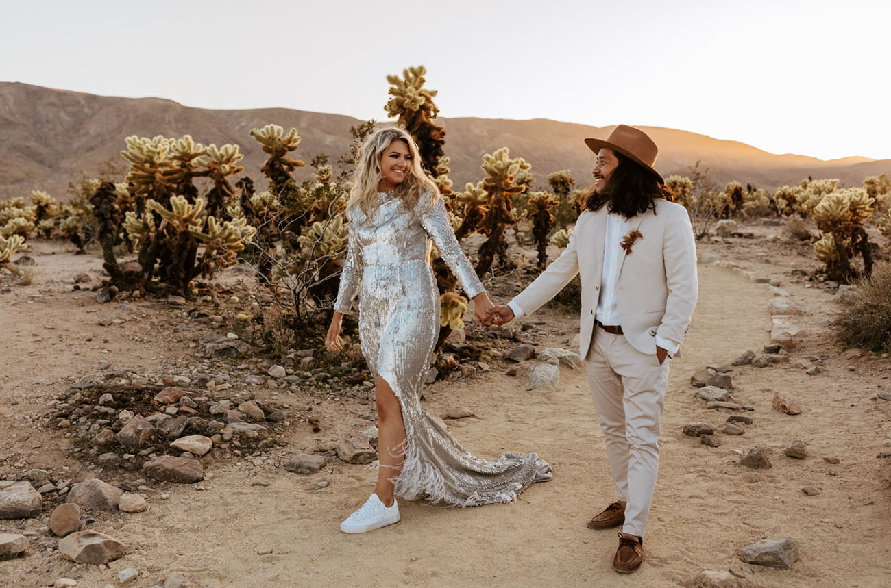 Rad Last-Minute Elopement in Joshua Tree + a Sequin Wedding Dress