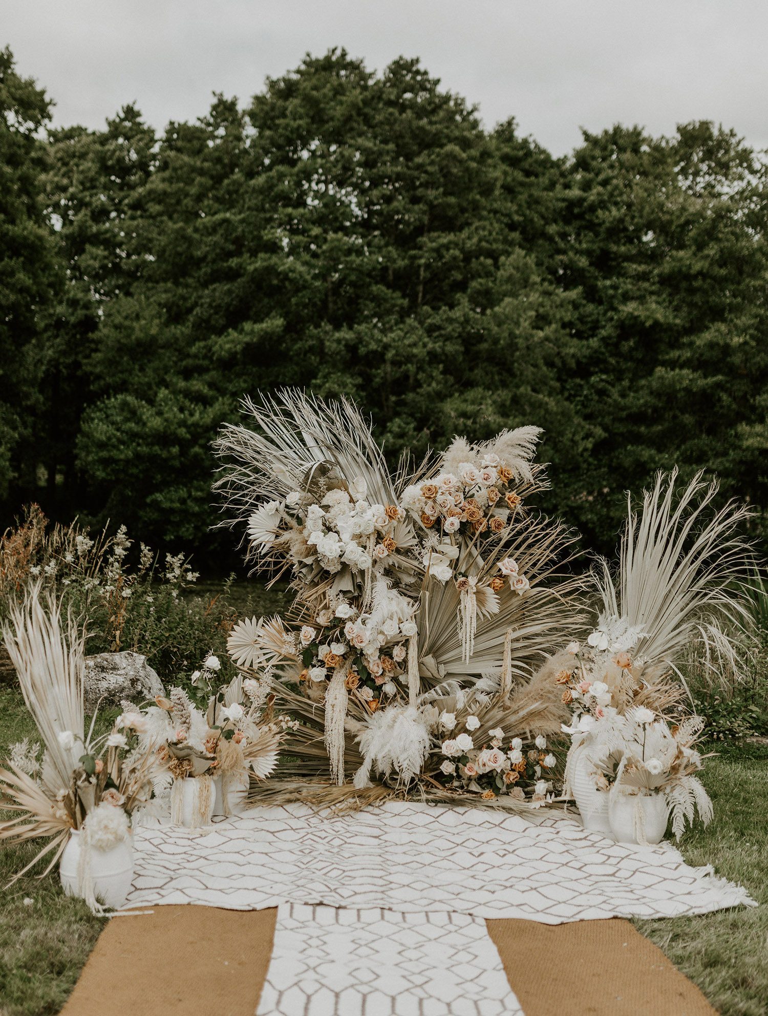 Dried Palm Backdrop for Ceremony