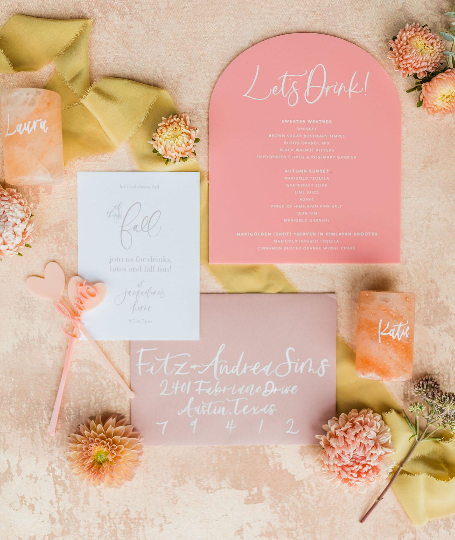 fall party invitation and menu