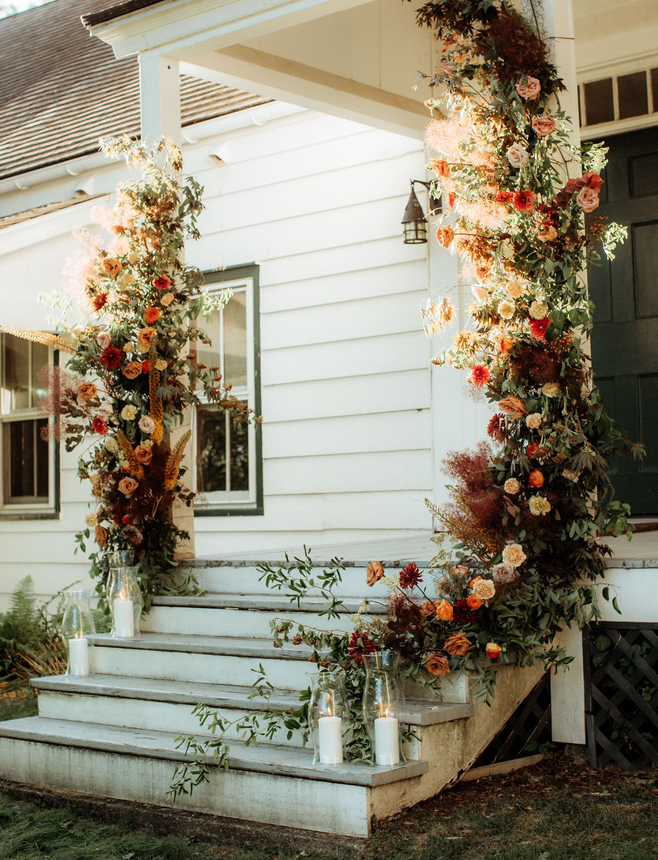 front porch floral installation