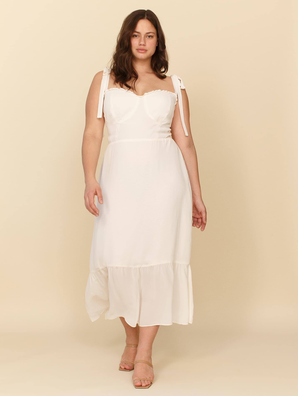 nikita reformation tea-length wedding dress
