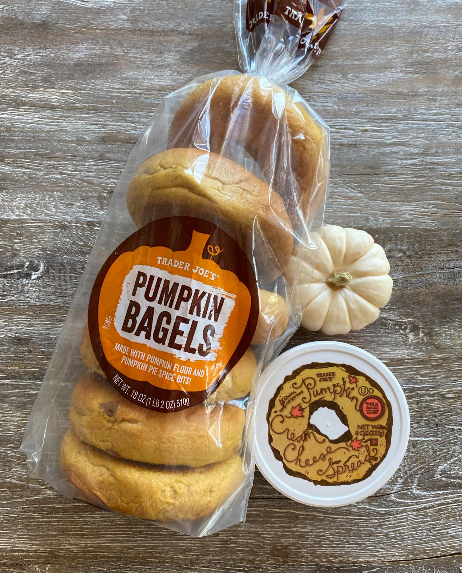 Trader Joe's pumpkin bagels with pumpkin cream cheese