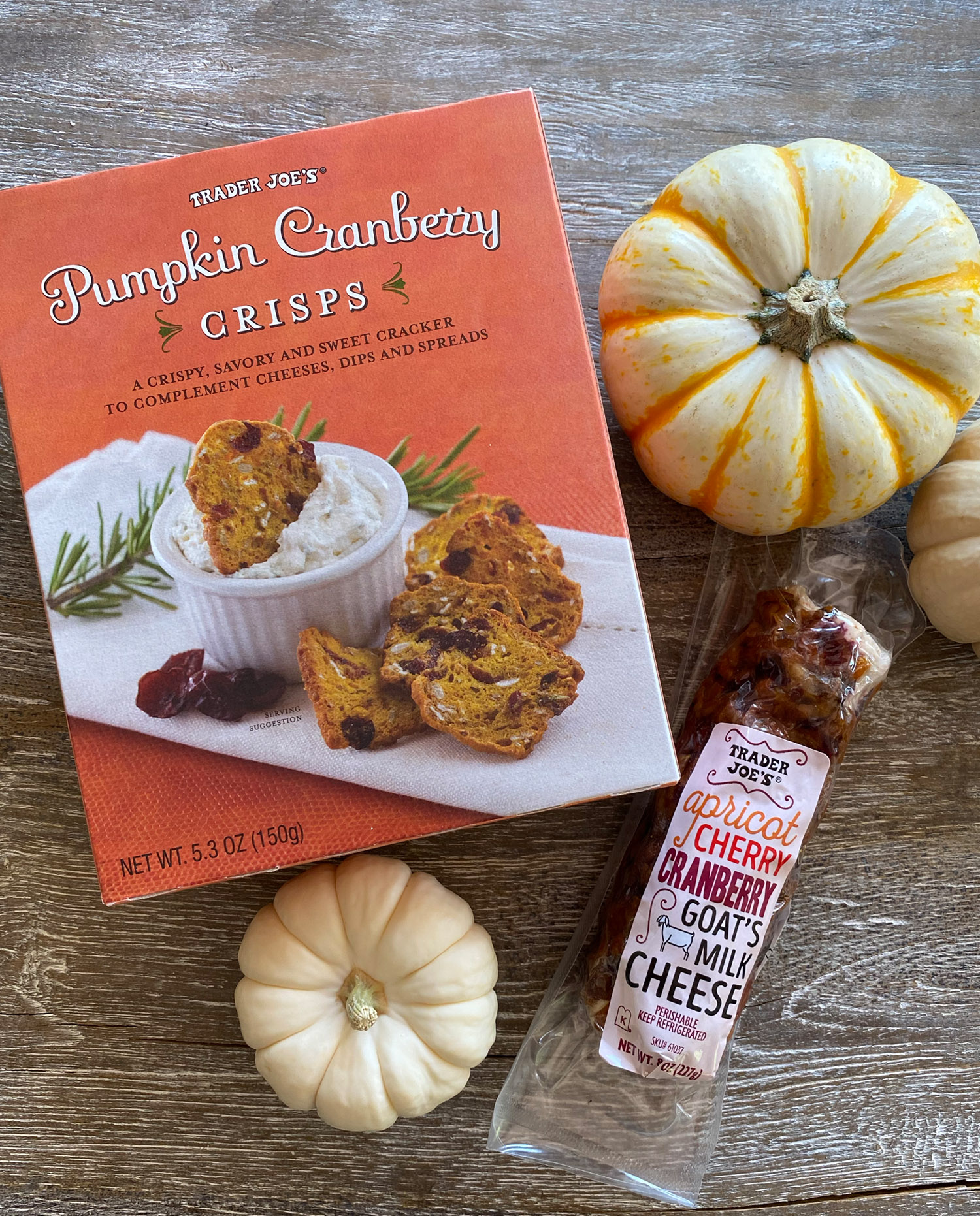 pumpkin crisps with Cranberry Cherry Goat Cheese