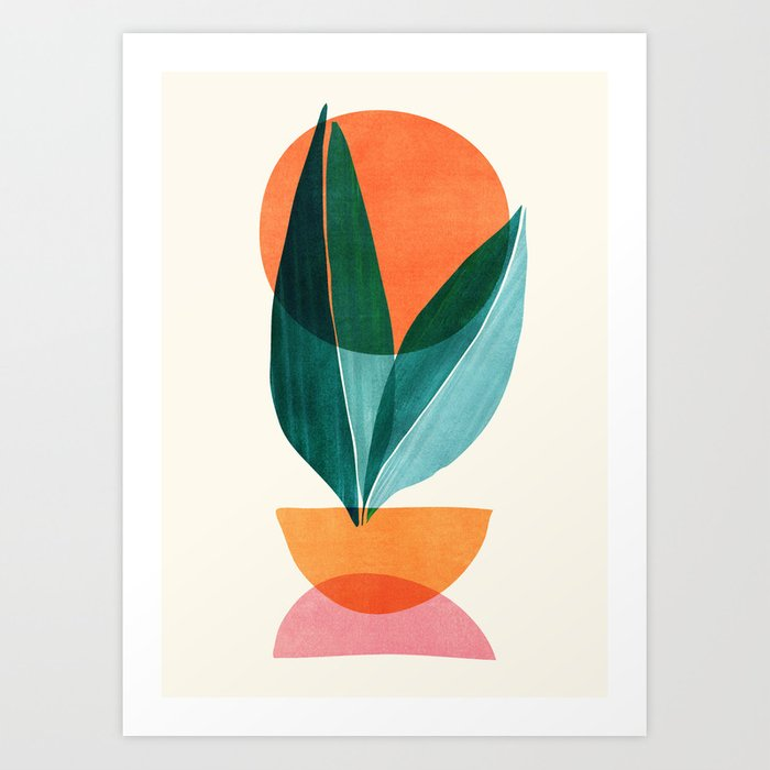colorful abstract plant wall art