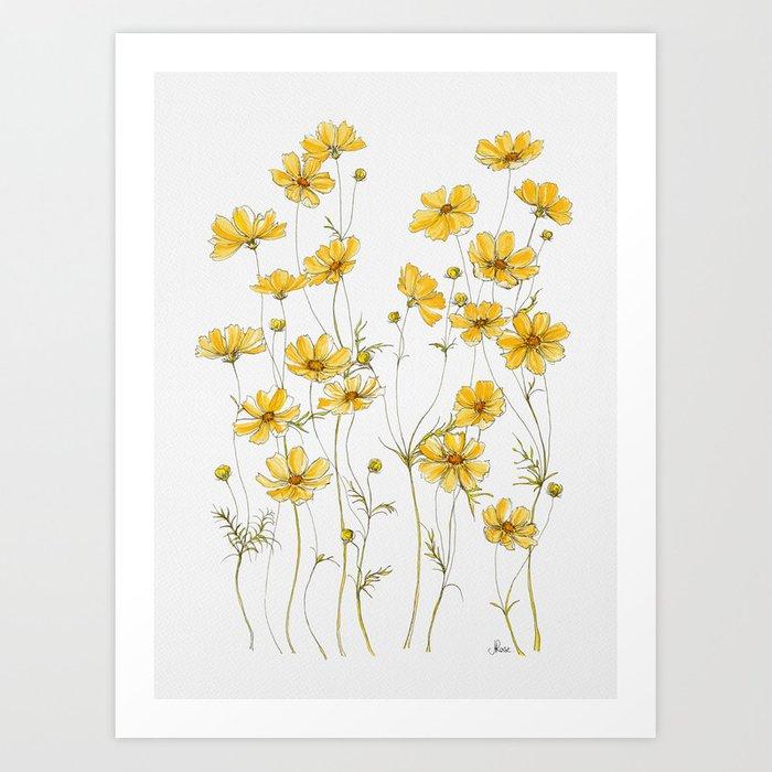yellow cosmos wall art print
