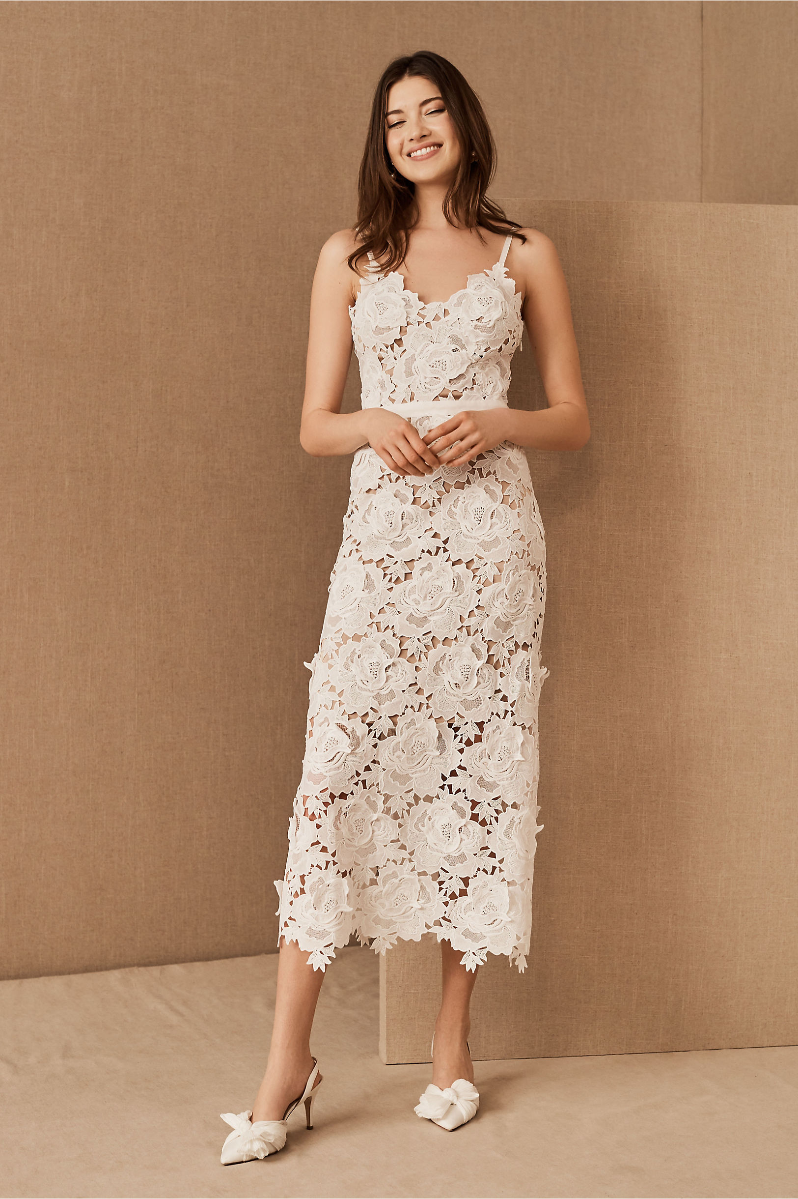rose lace column gown bhldn