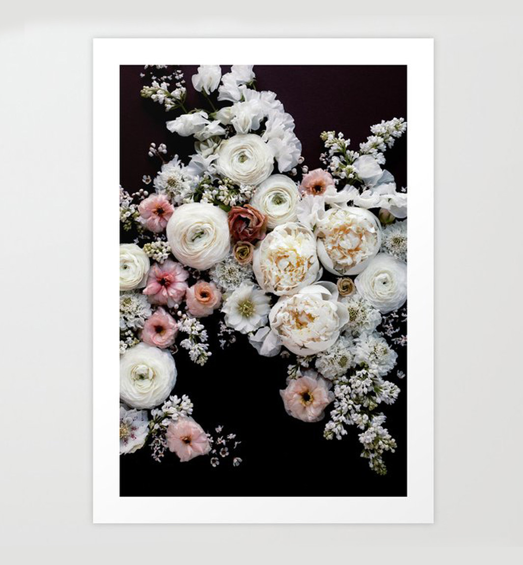 white peonies in bloom print copy