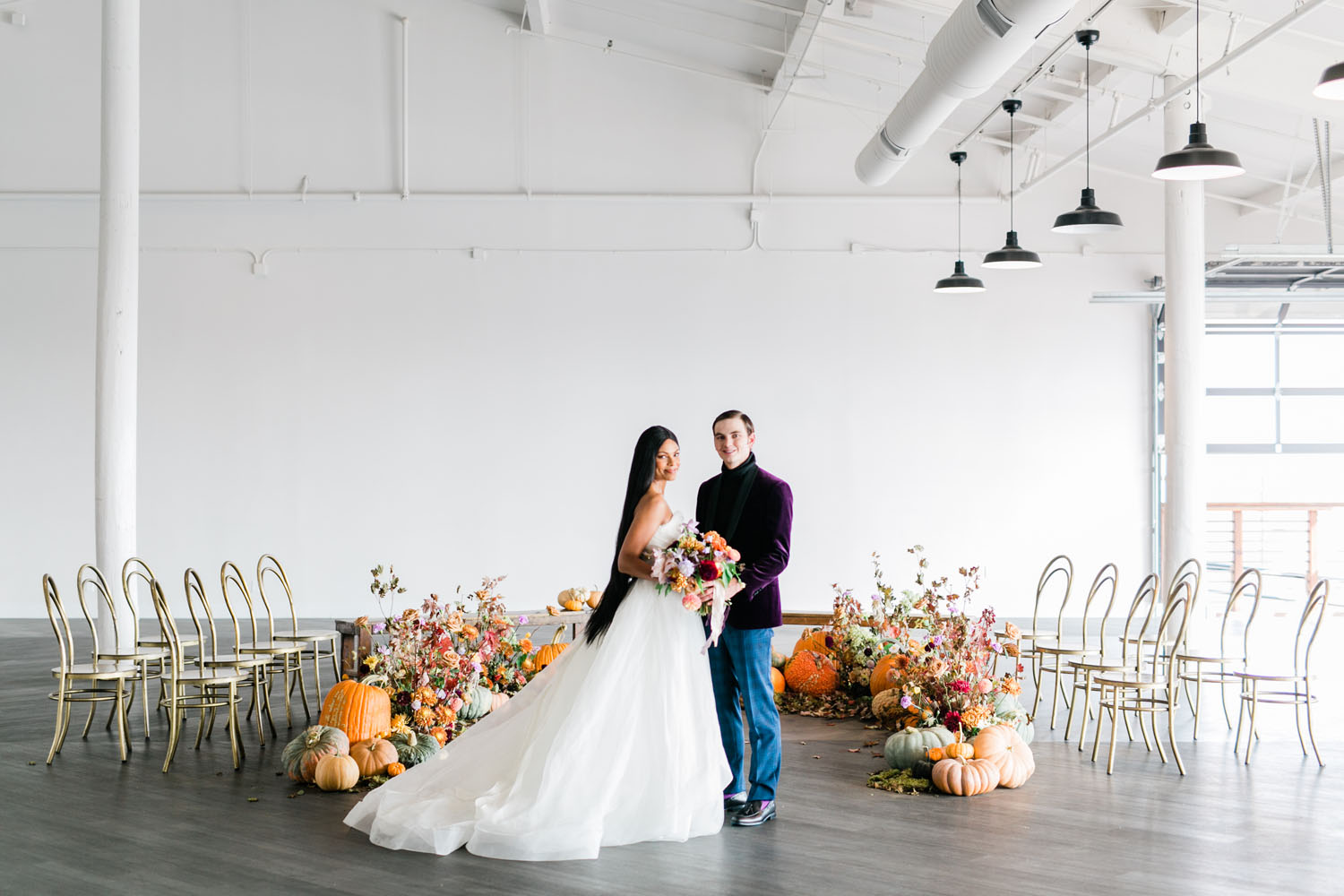 Pumpkin Spice Fairytale Wedding Inspiration with a Lavender Dress