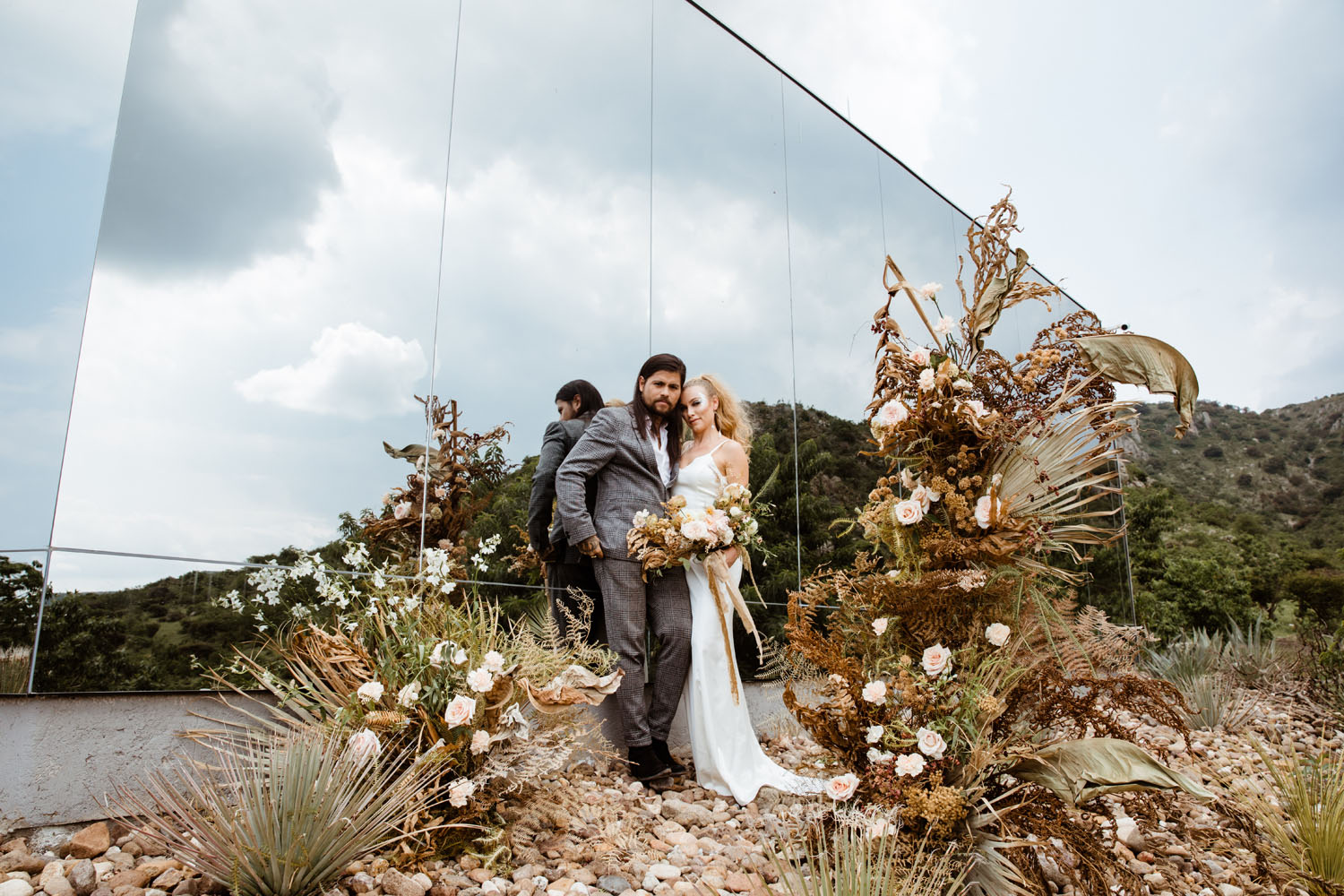 Dried Palms + Brown Wooden Elements for This Mexican Micro Wedding