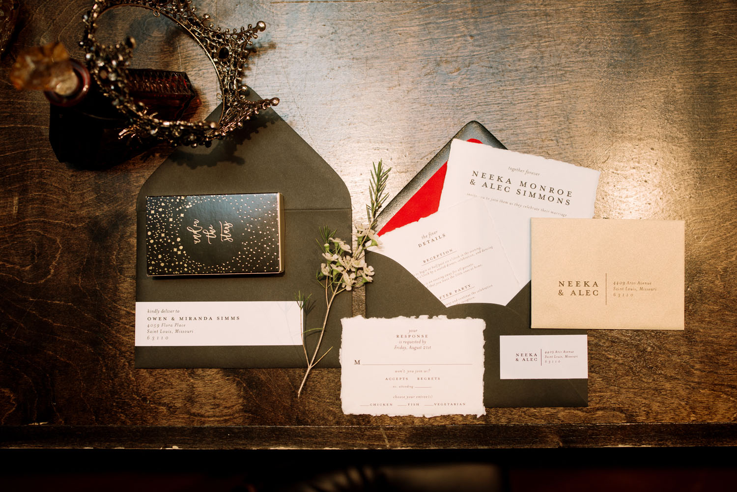black invitation suite