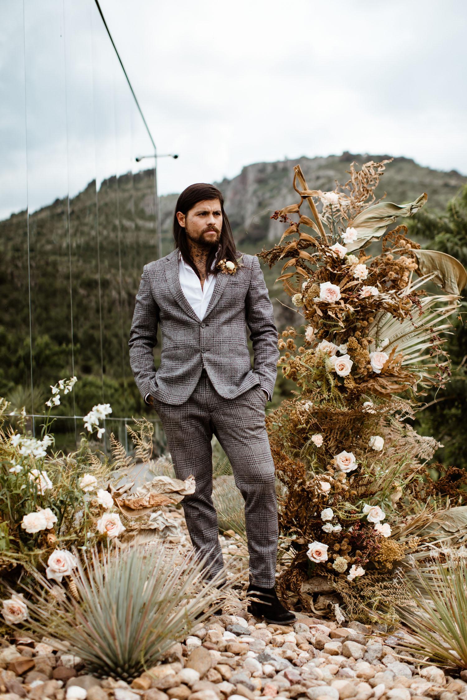 gray suit groom