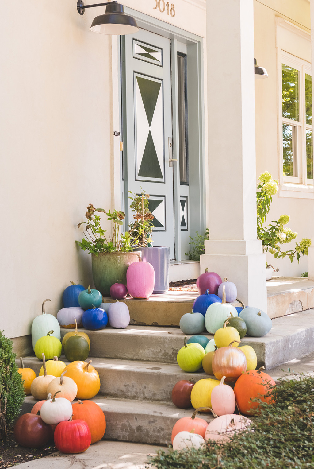 painted rainbow pumpkins