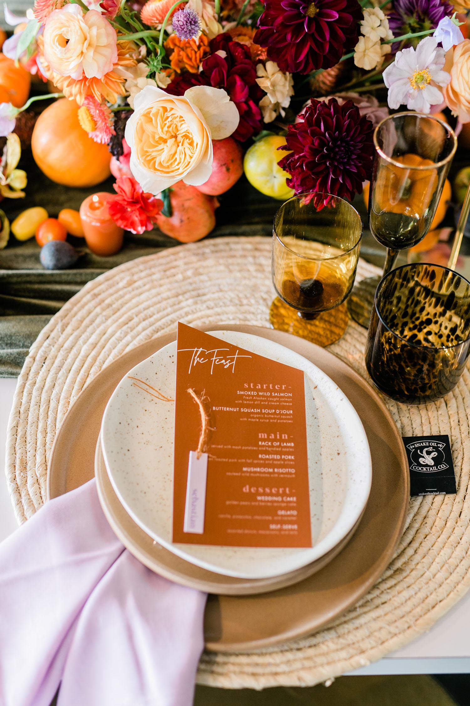 rust wedding menu