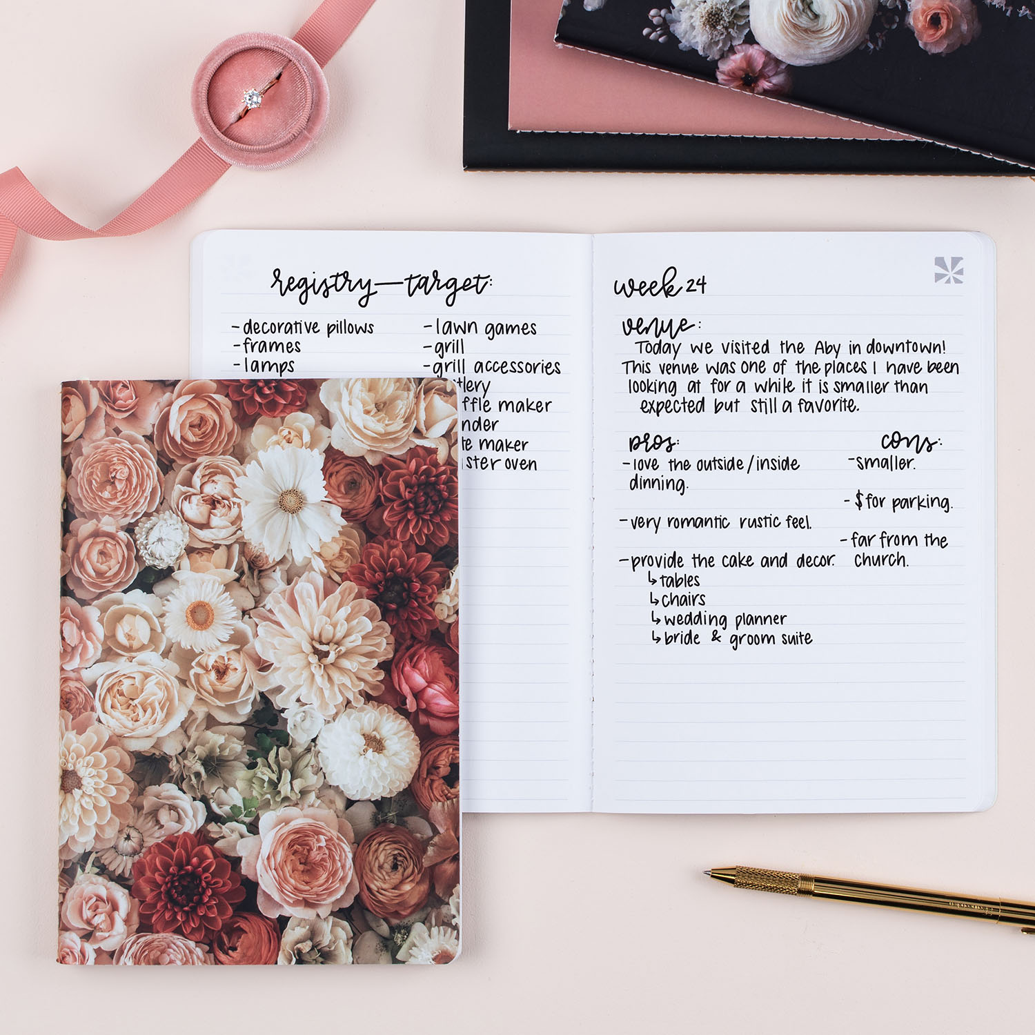 Blush Flower Notebook from green wedding shoes