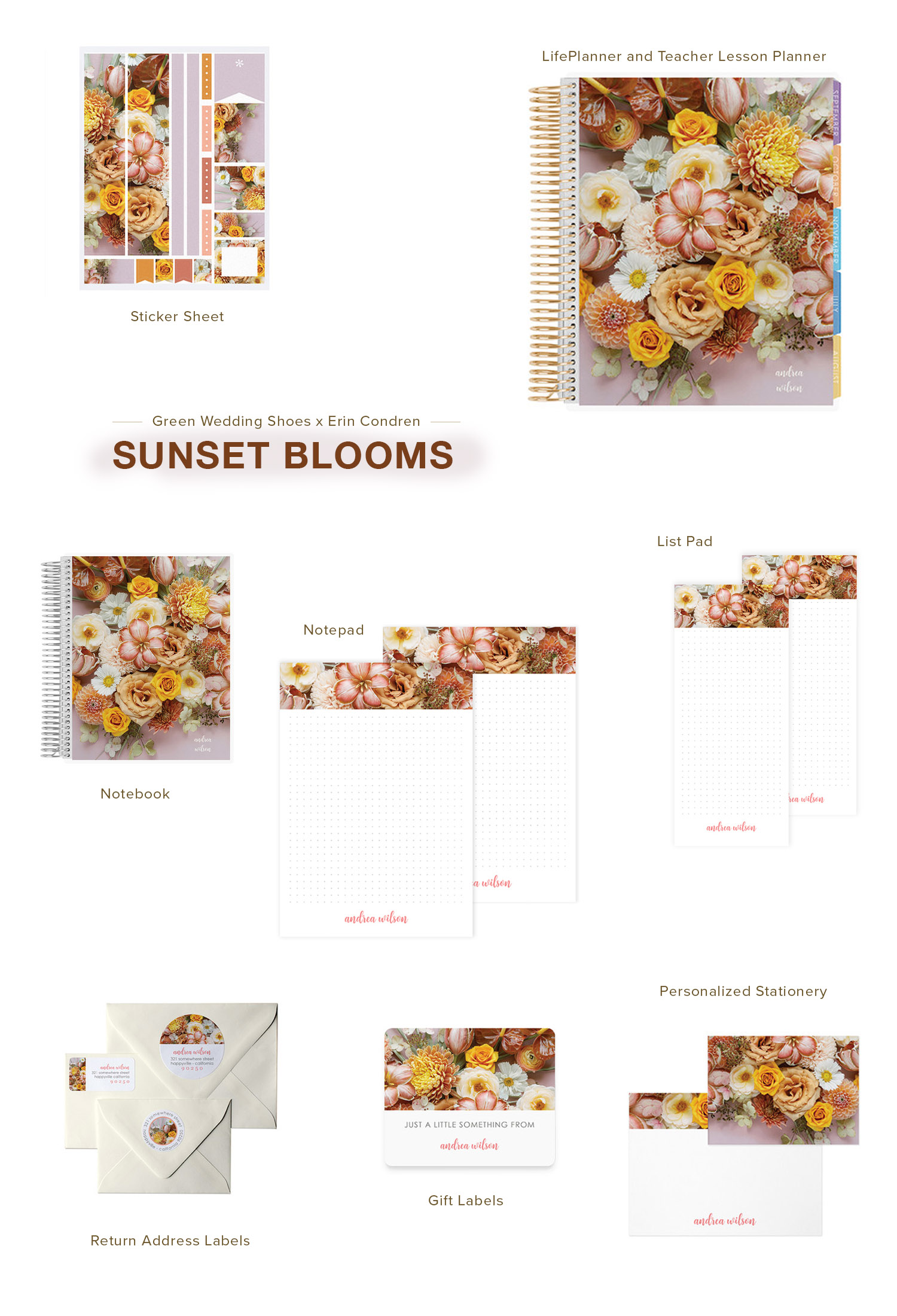 Sunset Blooms LifePlanner