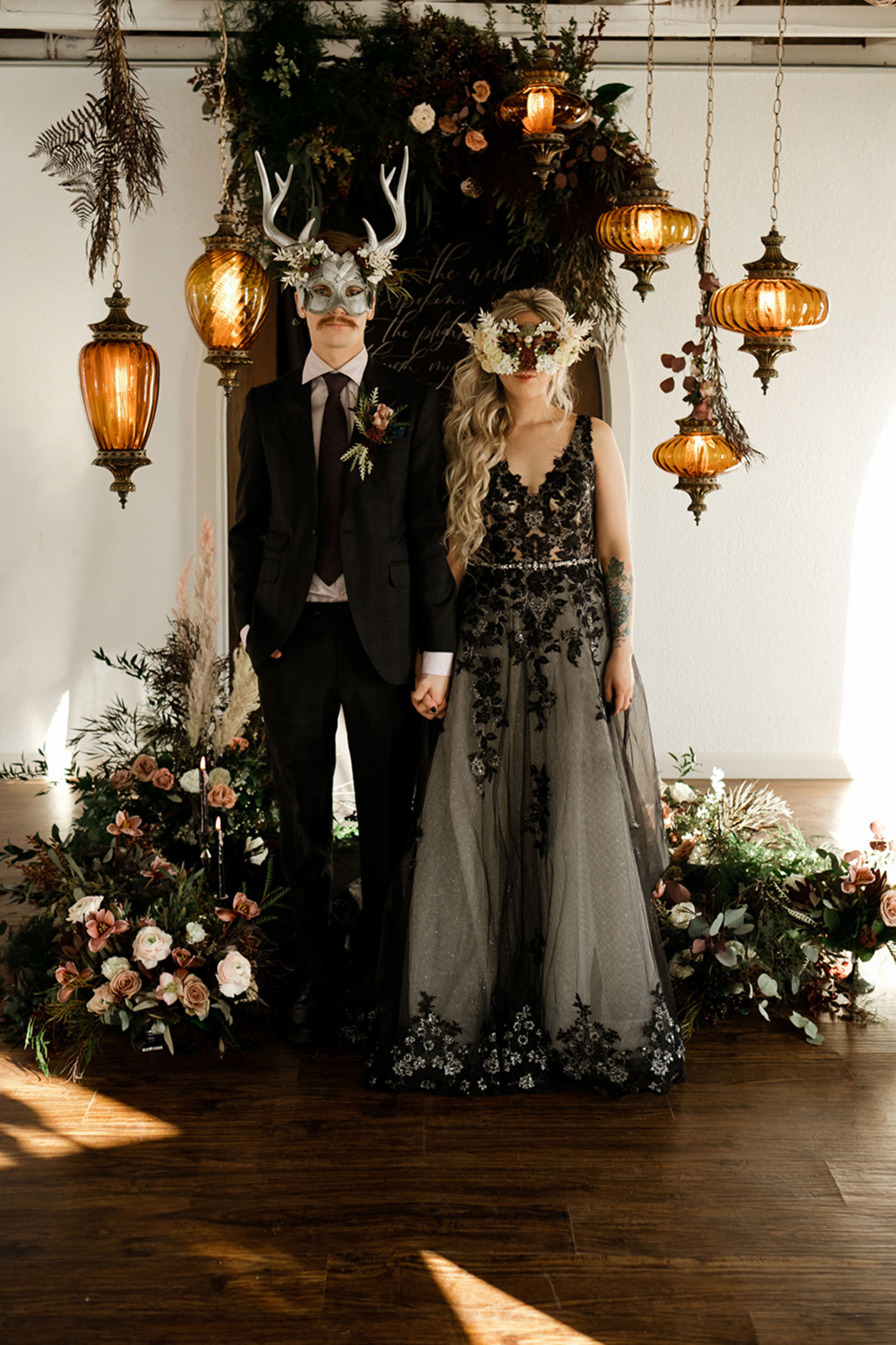 Moody Masquerade Ball Meets Edgar Allan Poe Wedding Inspiration