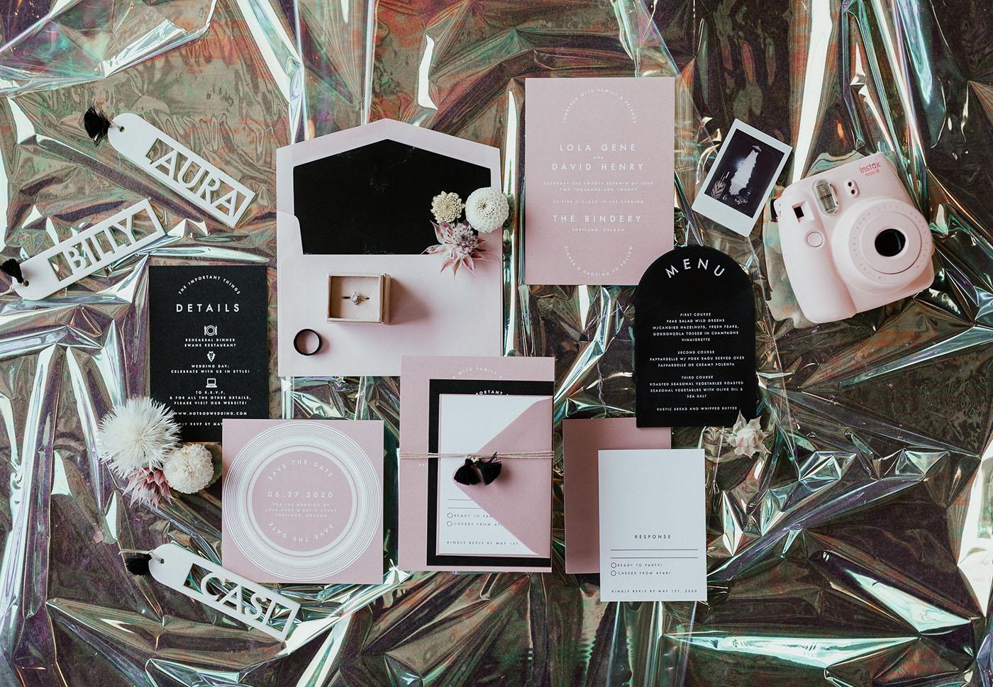 modern pink and black invitation