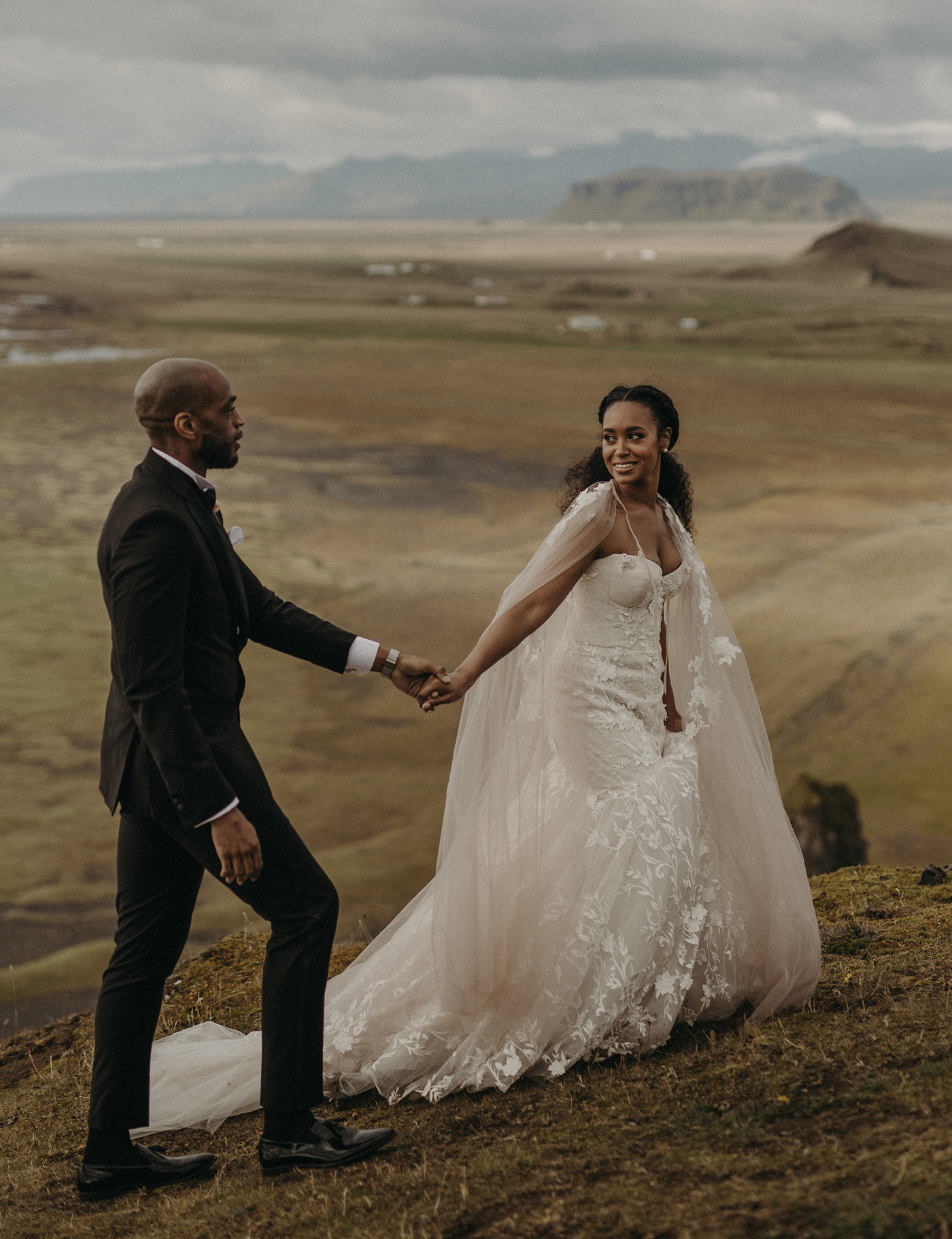 A Blush Bridal Cape for This Adventurous Cliffside Wedding in Iceland