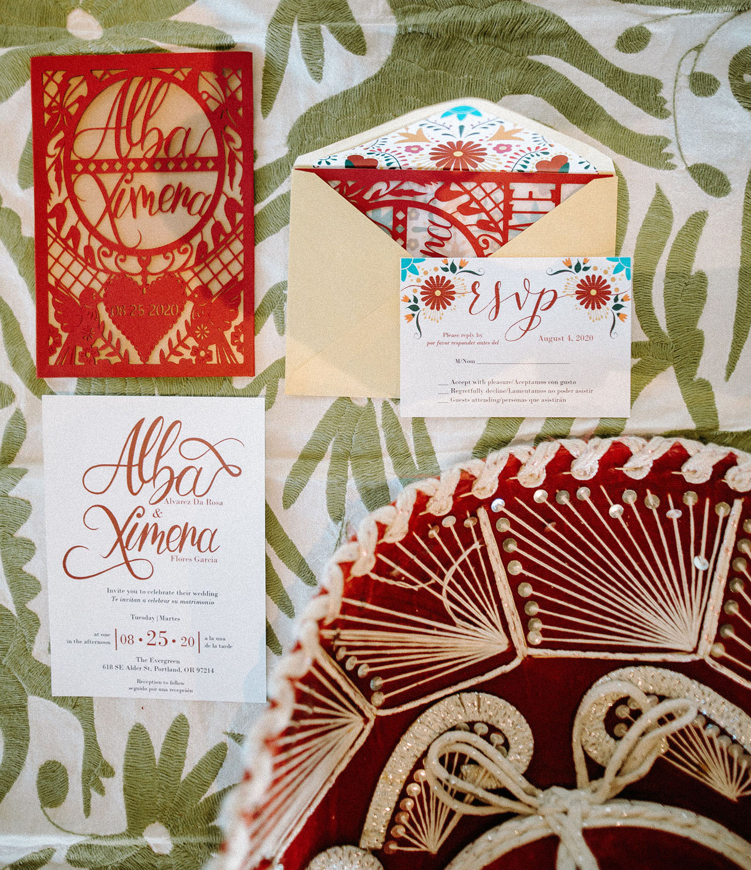red calligraphy invitation