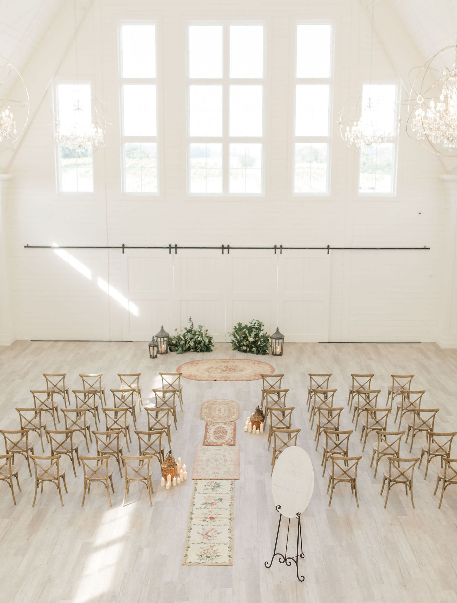 white barn ceremony