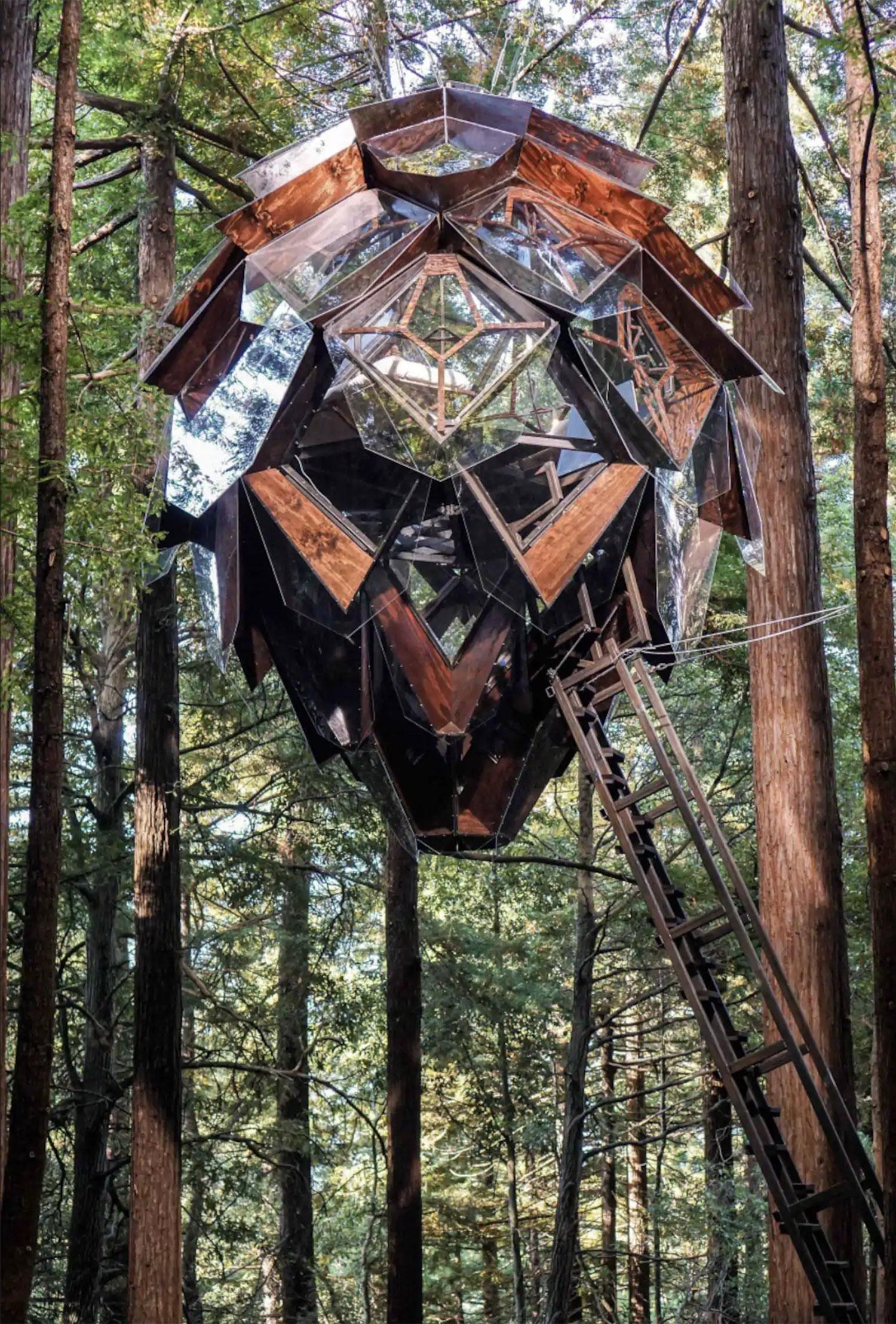 Treehouse shaped like a pinecone