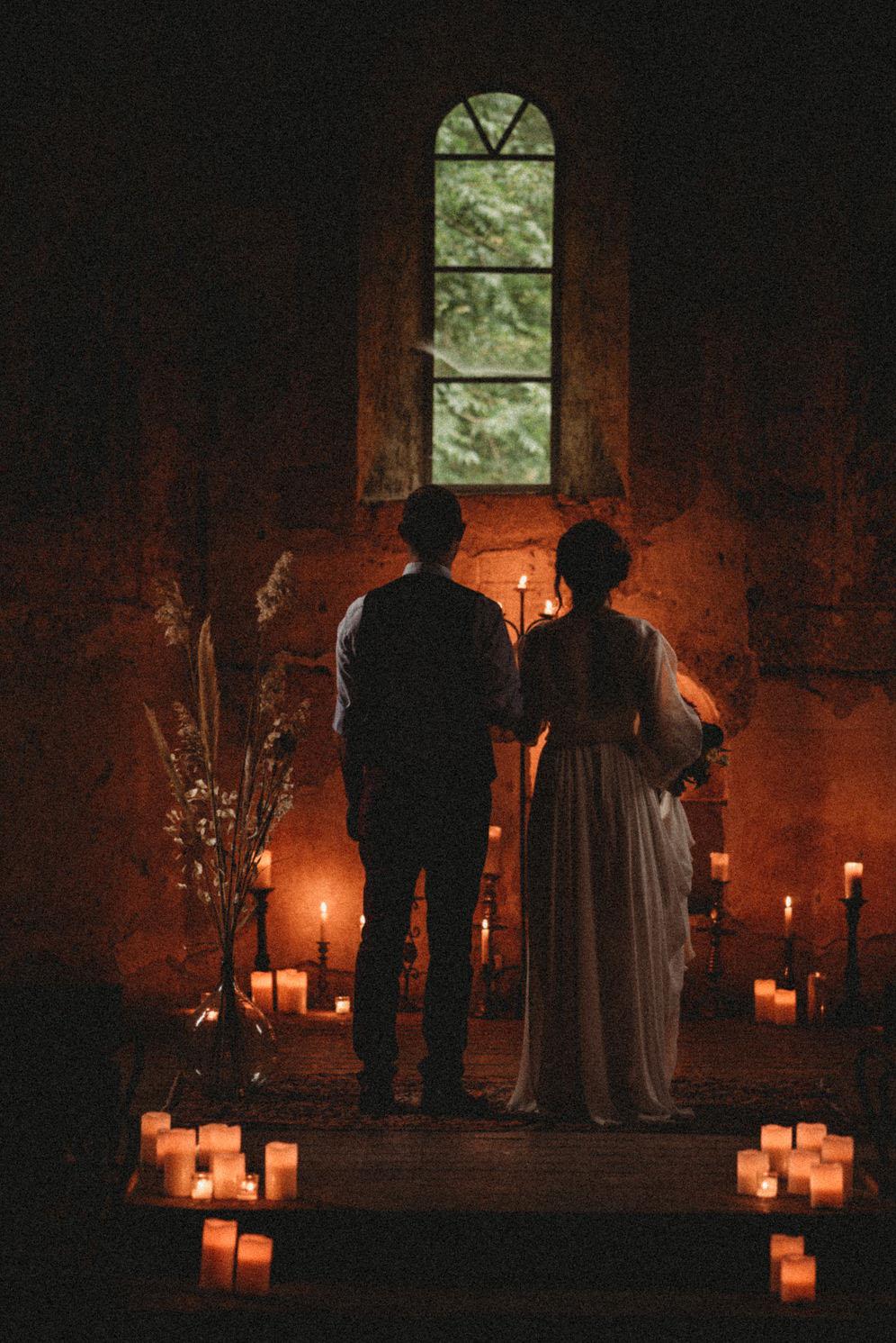 Romantic candlelight ceremony