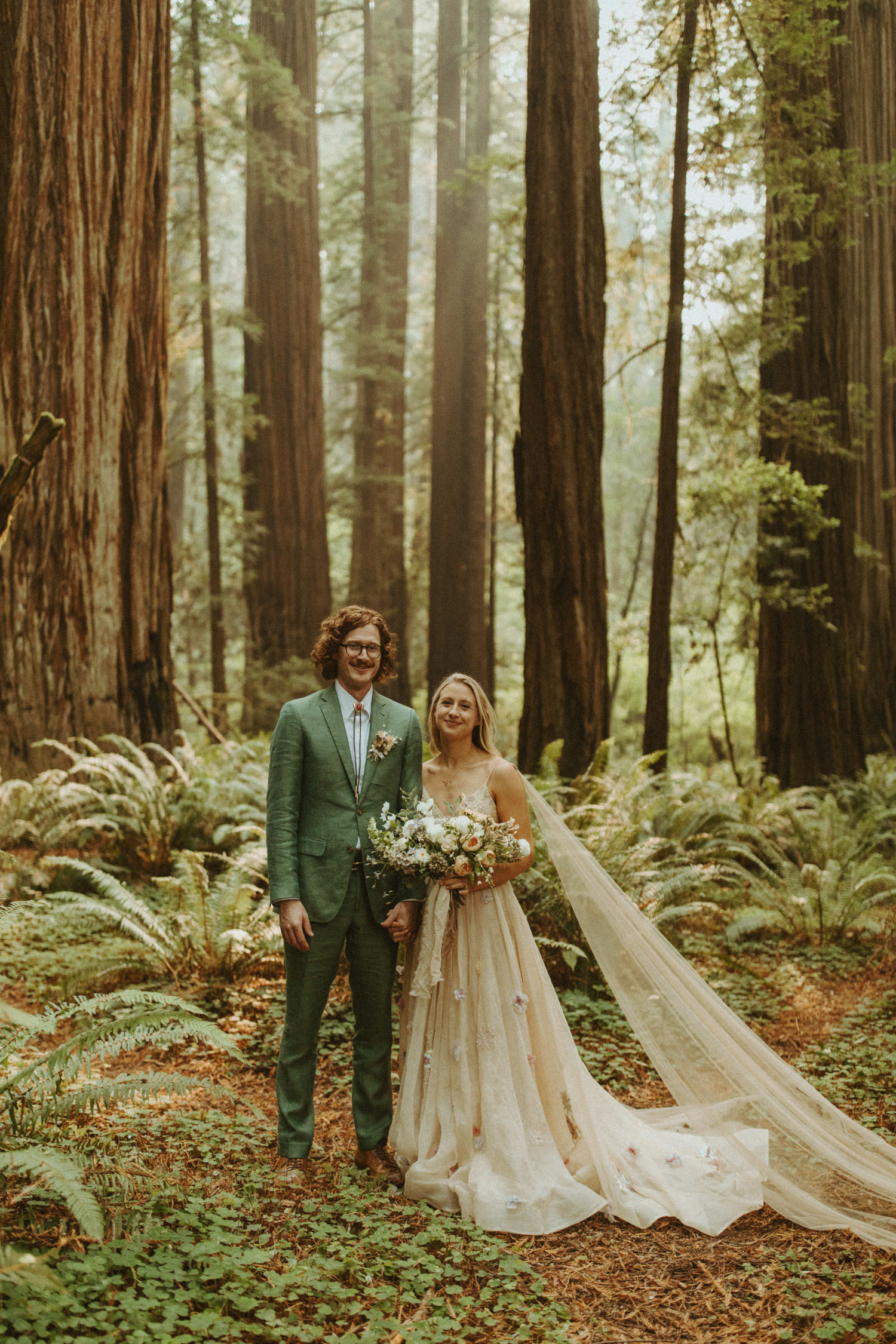 A One-Of-A-Kind Floral Wedding Dress for this Redwoods Elopement
