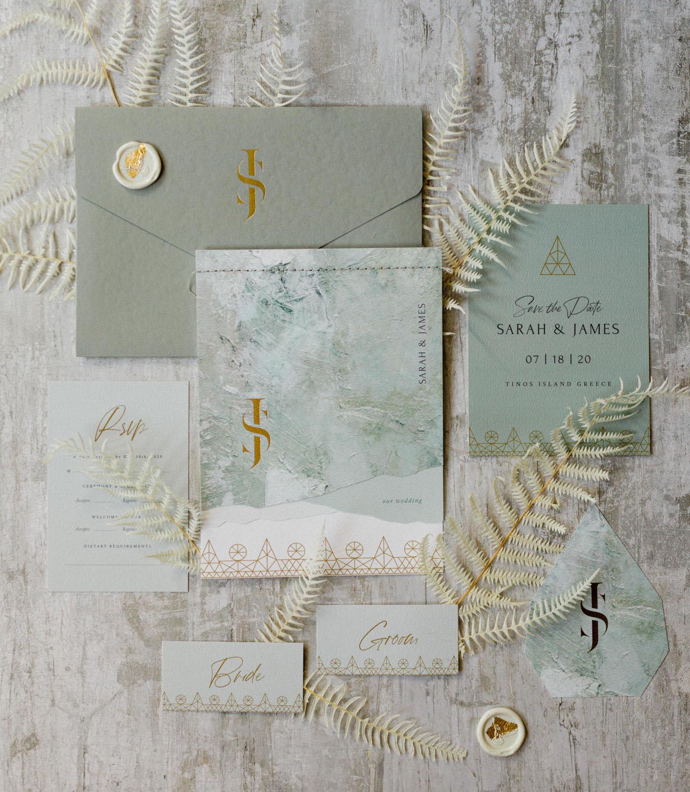 soft green wedding invitation