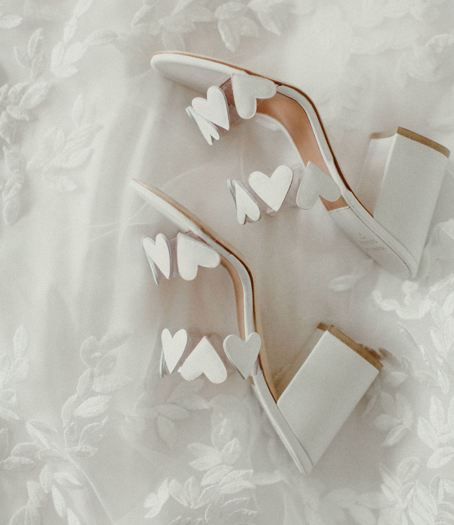 white heart bridal heels