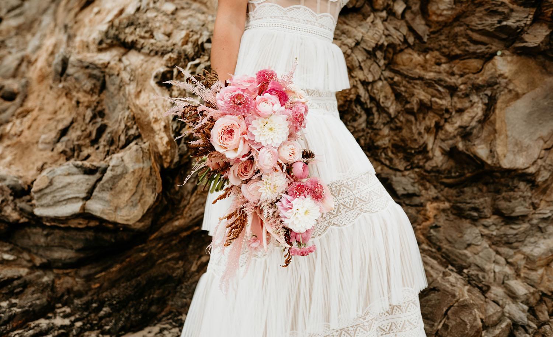 Pink Boho Bridal Bouquet