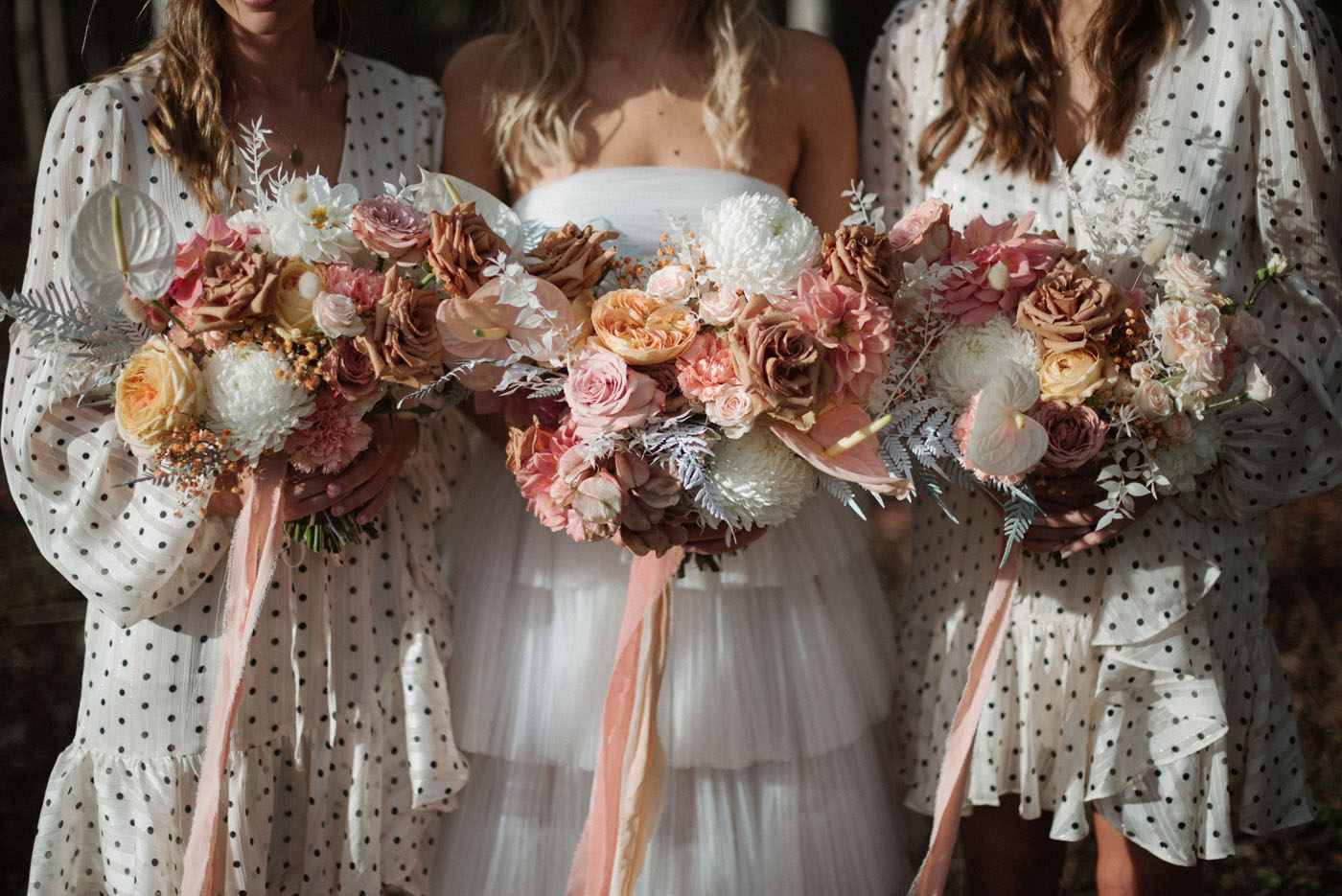 blush wedding party bouquets