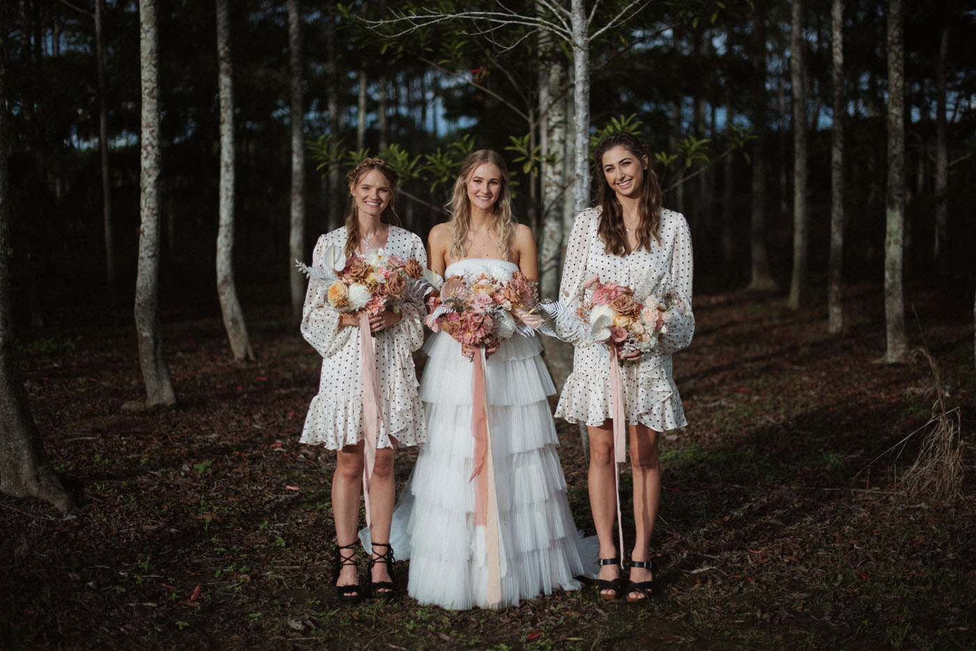 Polka dot bridesmaid dresses
